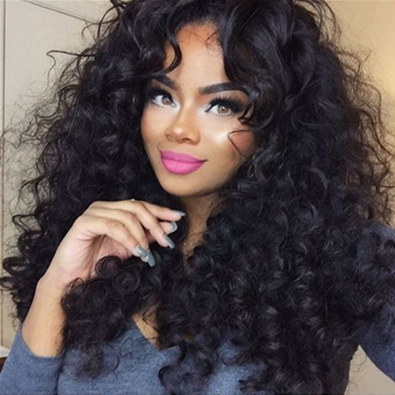250 Density Glueless Lace Front Human Hair Wigs Loose