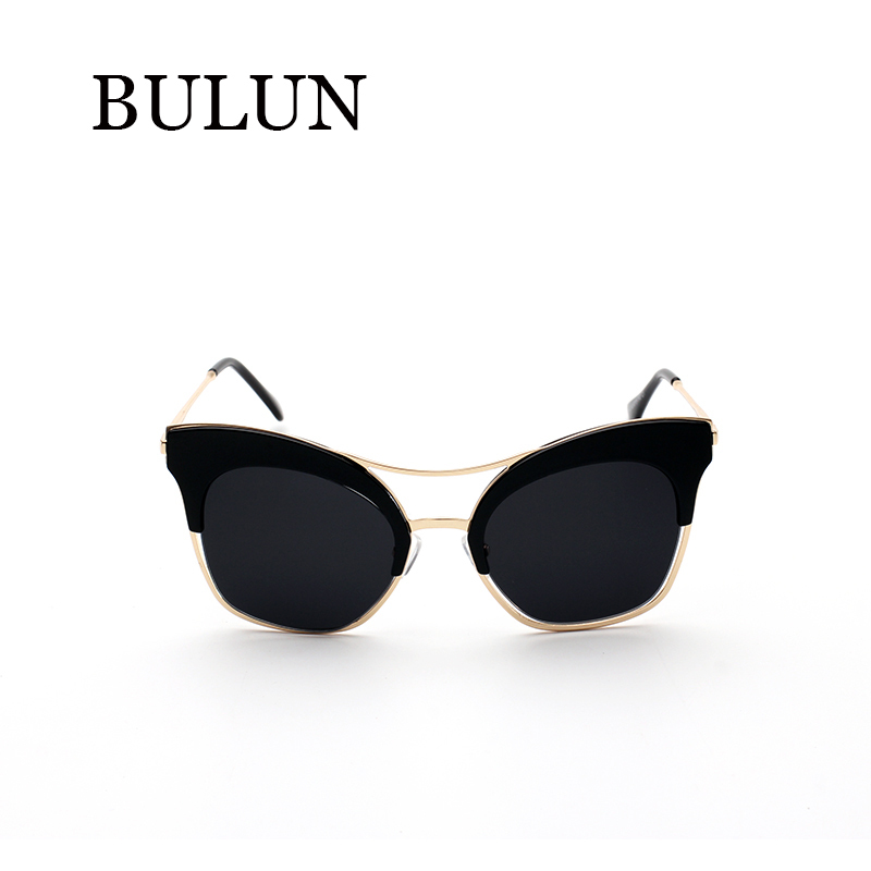 BULUN Vintage Metal Cat Eye Sunglasses Women Brand Designer Fashion Sun Glasses For Women Oculos De Sol Feminino gafas With Box 2017 vintage oil wax leather women shoulder bags famous brand luxury handbags women bags designer pu leather tote bag sac a main