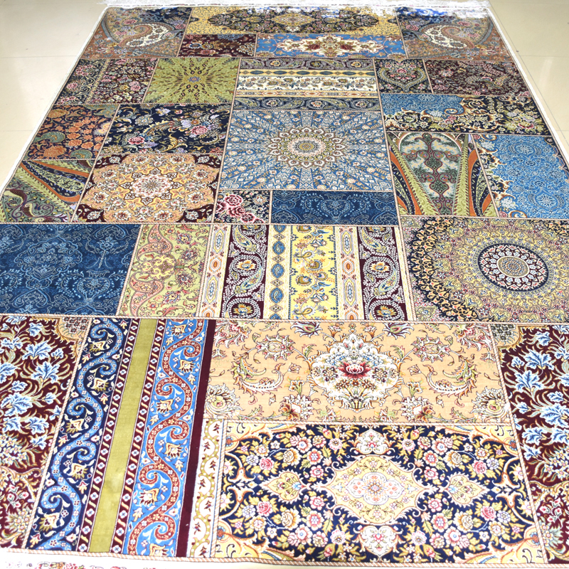 mingxin 6x9 feet joint design large carpet hand knotted turkish silk rugs for living room area rugs