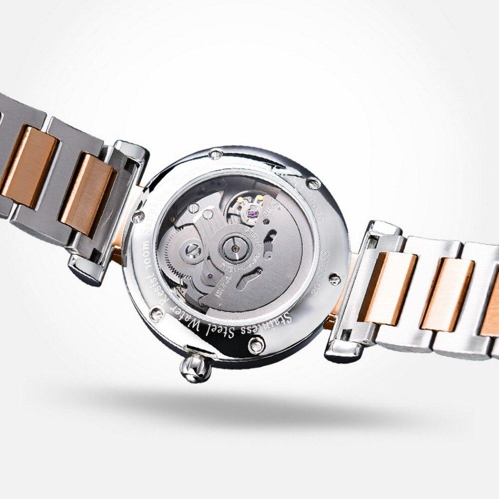Yelang V1026 pani Austria kryształ T100 Luminous kobiet pasek stalowy 100 M wodoodporna automatyczne Meachanical zegarek na rękę różowe złoto w Zegarki damskie od Zegarki na  Grupa 3