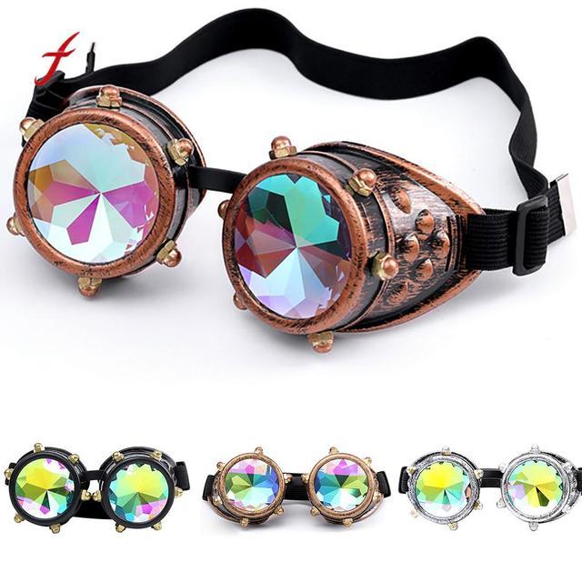 d04ab90d3f463 Caleidoscópio Colorido Óculos Rave Festival Partido óculos de Sol Lente  Difratado EDM