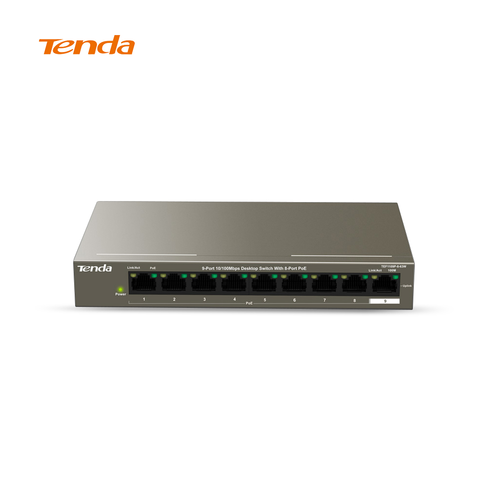 Tenda Network Switch 9 Ports Desktop 10/100Mbps 802.3af/at PoE Fast Ethernet TEF1109P-8-63W, 58W, 250M, 6KV Lightning Protection стол adrenalin republic double top раскладной