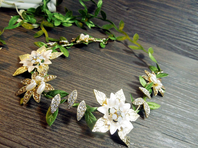 HIMSTORY Tiara Flower Green Leaf Hairband Wedding Bridal Hair Accessory Forest Hairwear for Girl Party New YEar Gift in Hair Jewelry from Jewelry Accessories