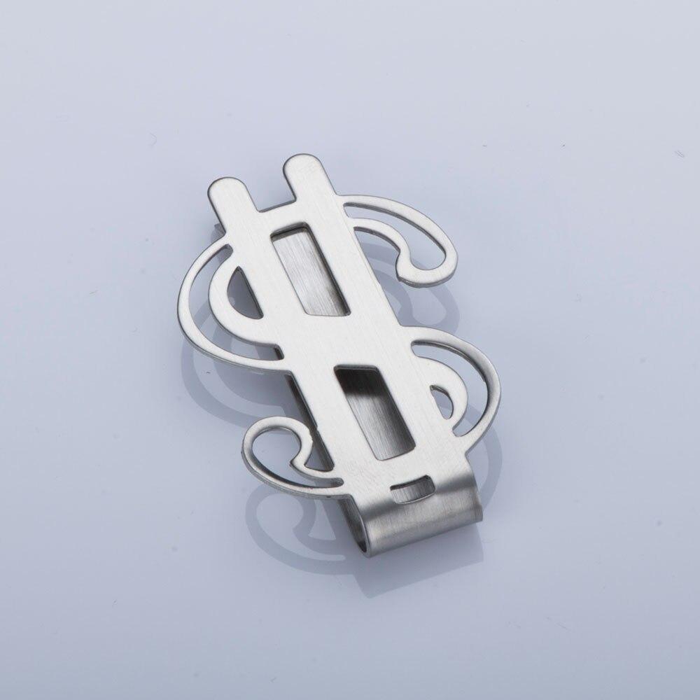 1 Pc Kreative Edelstahl Metall Geld Clip Mode Einfache Silber Ton Glatte Dollar Zeichen Bargeld Clamp Halter Ohne RüCkgabe
