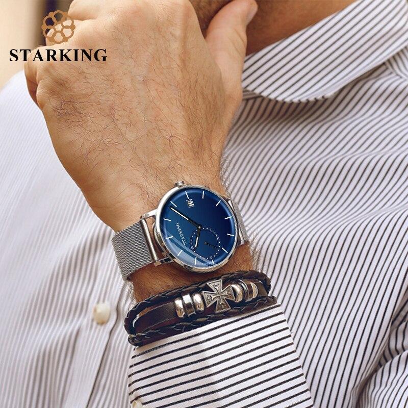 STARKING Dress Men Watch Steel Mesh Band Quartz Analog Wristwatch 3ATM Waterproof Curved Glass Blue Male Clock Relogio Masculino 3