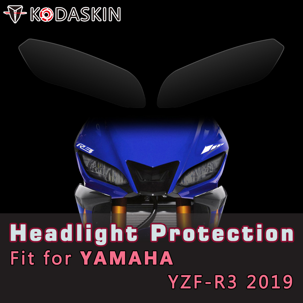 KODASKIN Motorcycle ABS Front Headlight Cover Protection Screen Lens For Yamaha YZF-R3 2019