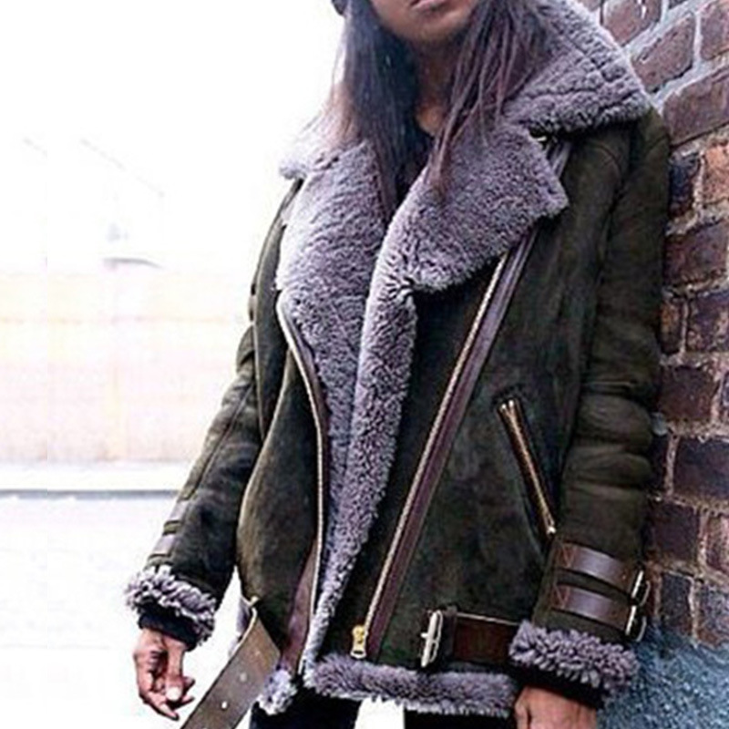 HOT2019 automne hiver Europe à manches longues locomotive peau de daim flocage imitation femmes agneaux laine épaissir manteau femme dame veste