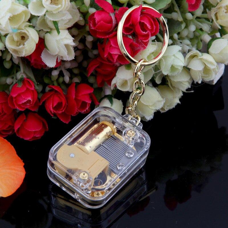 Acrylic Gilded Keyrings Music Box Keychain Golden Wedding Souvenir