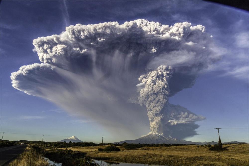 Calbuco Volcano volcanoes eruptions Chile fields roads lava mountains snowy peaks smoke 4 Sizes Silk Fabric Canvas Poster Print
