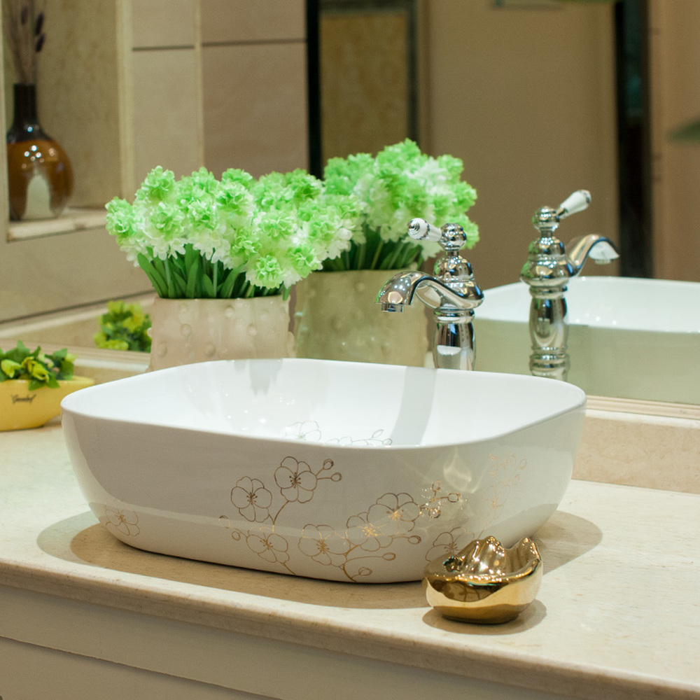 Bathroom above counter basin ceramic bathroom vanity bathroom sink basin small gold flower LO620447