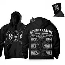 2018 SAMCRO SOA Sons Of Anarchy Zipper noir manteaux pour homme sweat à capuche de sport homme Hip Hop sweat à capuche Slim Fit hommes Sweatshirts veste(China)
