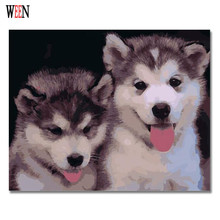 WEEN Animal Pictures Painting By Numbers Modern DIY Handwork On Canvas Oil Couple Dog Art Coloring Home Decor For Living Room