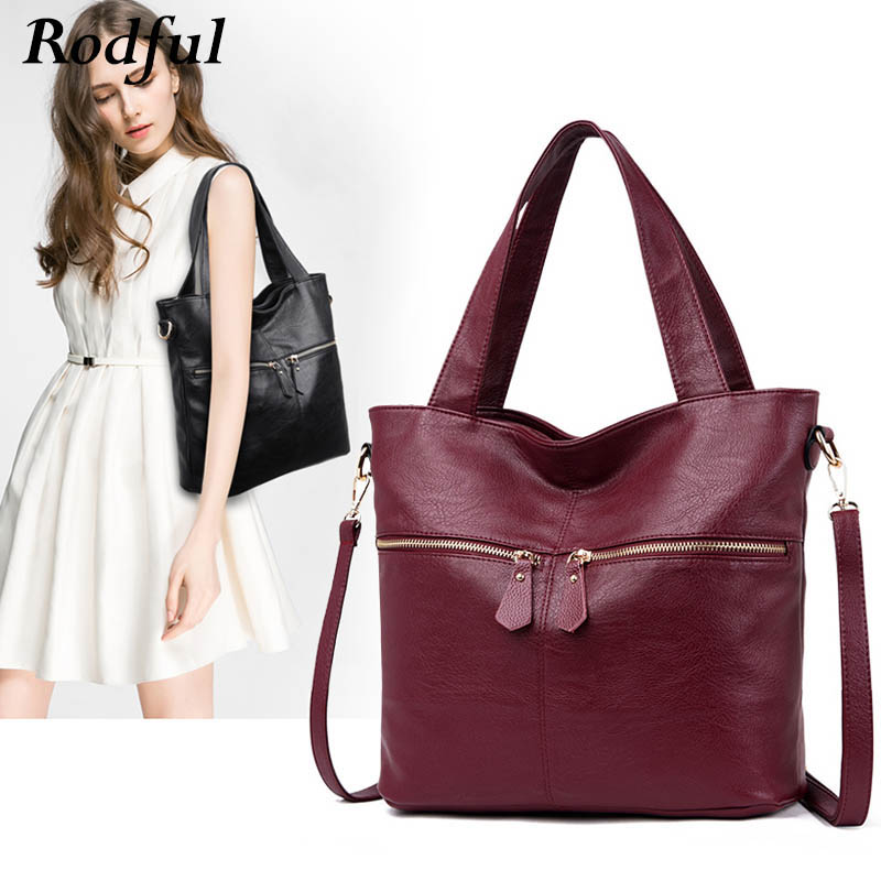 Rodful Big Soft Casual Tote Shoulder Bag Women's Handbags Leather Female Large China Ladies Hand Bags For Women 2019 Black/gray