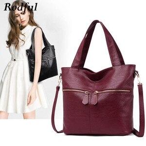 Image 1 - Rodful grande macio casual tote bolsa de ombro bolsas femininas couro feminino grande china senhoras sacos de mão para mulher 2020 preto/cinza