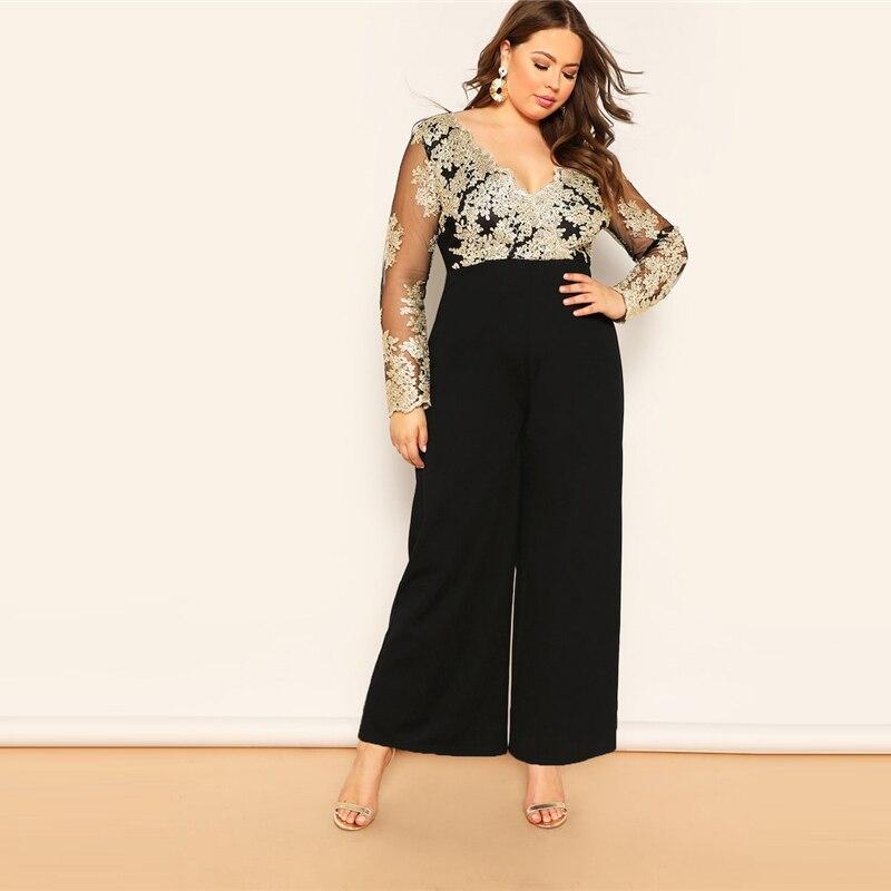 Black Plus Size Embroidered Contrast Mesh Bodice Wide Leg Women Plain Jumpsuits