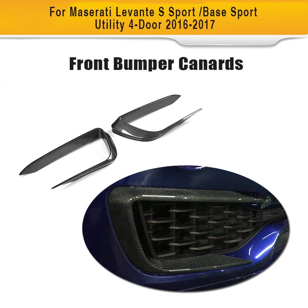 Углеродного волокна авто передний бампер отверстия противотуманных фар планки для Maserati Levante 4 двери 2016 2017 автомобиль Стайлинг