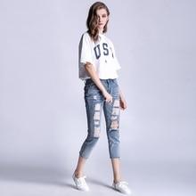 Женская мода Плюс Размер S-5XL Винтаж Отверстия Ripped Джинсы Синие Белые Брюки Женские Женщина Джинсовые Женщины Карандаш брюки