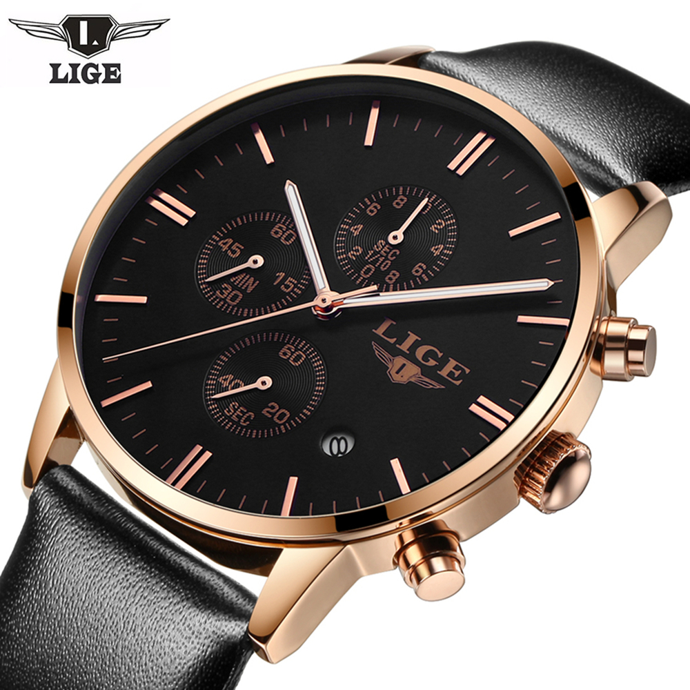 Watch Men Luxury Brand LIGE 2017 Men's Fashion Sports Waterproof Watches Chronograph Leather Quartz Wristwatch Relogio Masculino