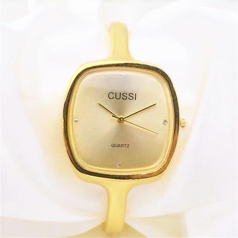 CUSSI Luxury Gold Watches Women Fashion Ladies Watches Quartz Wristwatches relogio feminino reloj mujer Gift Female Clock Square стоимость