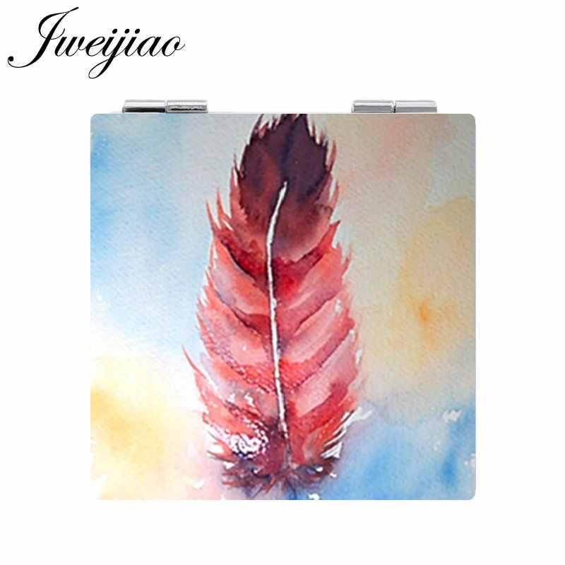 JWEIJIAO ملون اللوحة ريشة المطبوعة مربع الجلود مرآة جيب مصغرة للطي 1X/2X المكبرة مرآة مكياج صغيرة