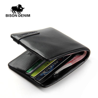 BISON DENIM Genuine Leather Wallet Men S Leather Wallet Causal Purse Black Purse Cards Holder Soft