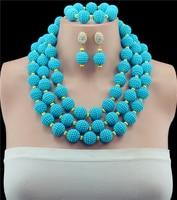 10 Colori Beads Africani Dei Monili Impostato Luce Blu Del Partito Delle Donne Nigeriano di Nozze Beads Africani Vintage Collana Gioielli Orecchini Set