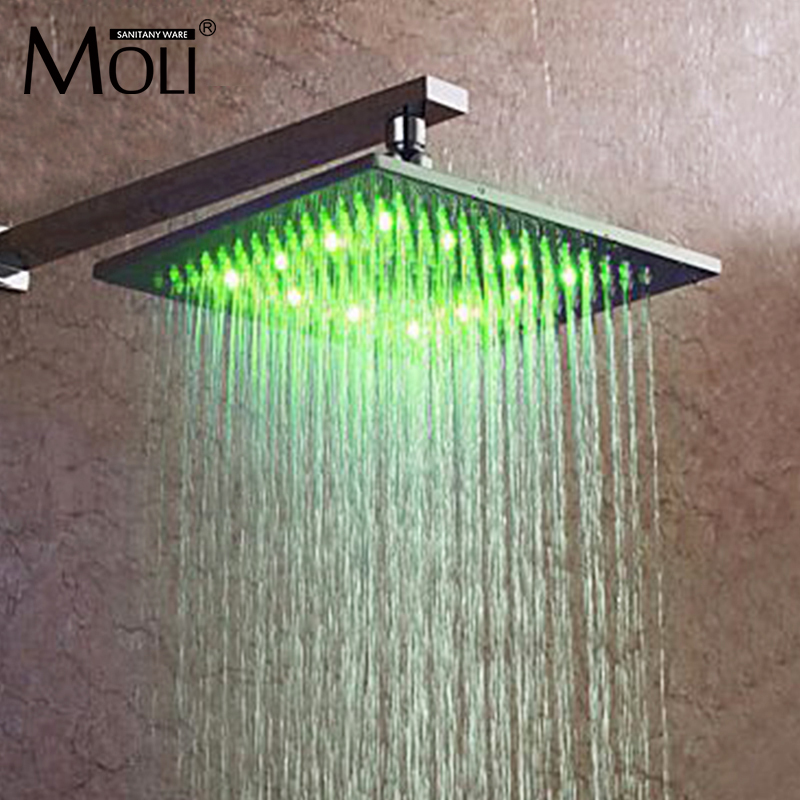 led shower head temperature color changing light brass square shower head 10 inch 8 inch led shower head square showers with led brass chorm ducha led temperature sensor water light top shower with three color