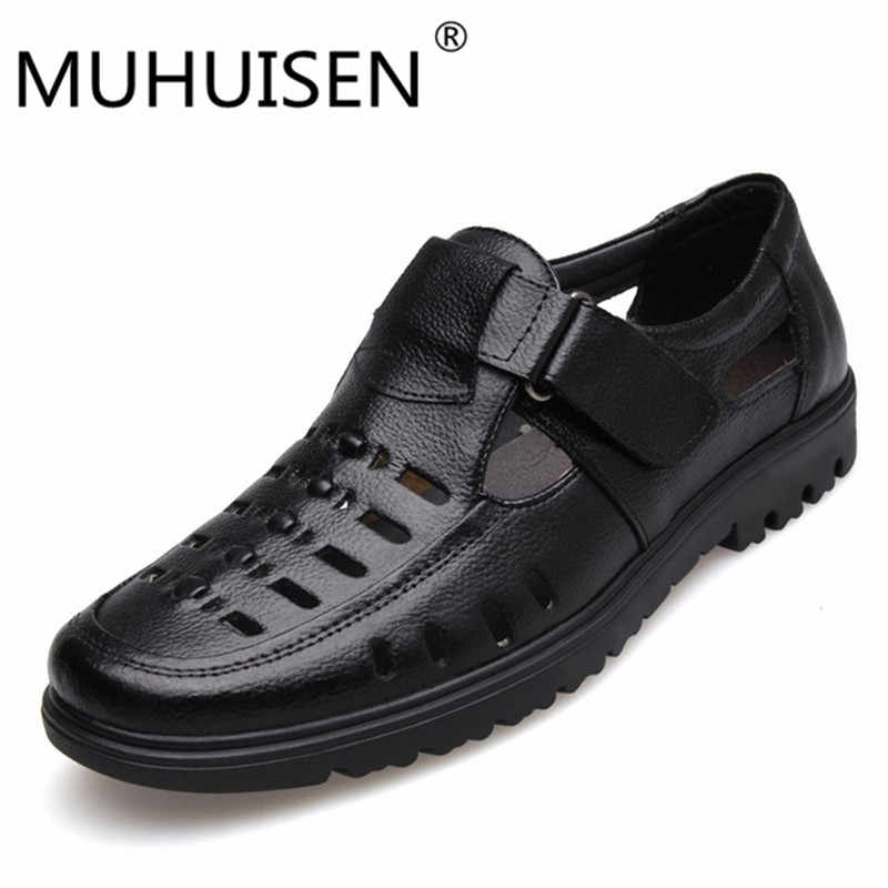 cfd3948188dd MUHUISEN Fashion Summer Beach Breathable Men Sandals Genuine Leather Men s  Sandals Flats Casual Shoes Superstar Zapatos