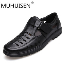 MUHUISEN Fashion Summer Beach Breathable Men Sandals Genuine Leather Men's Sandals Flats Casual Shoes Superstar Zapatos Black