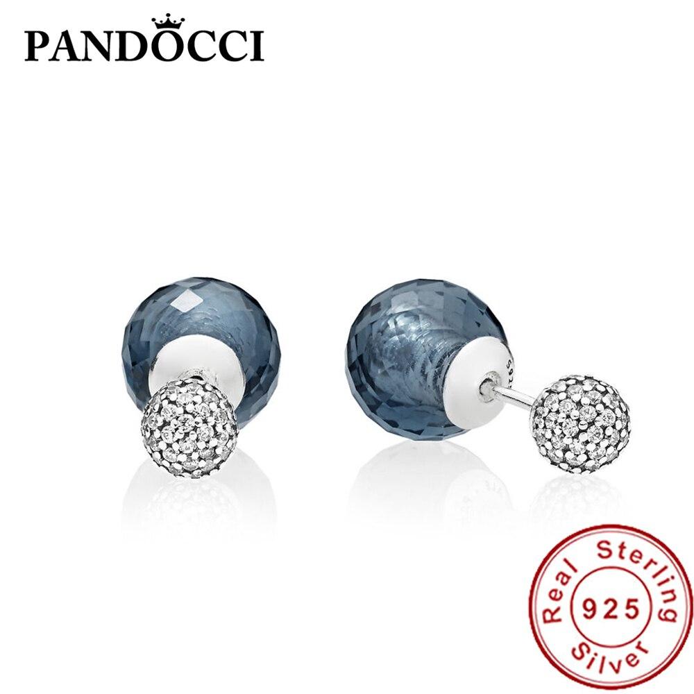 e9a8ba8ff2a1b US $18.33 |PANDOCCI 100% 925 Sterling Silver 1:1 296355NBC MIDNIGHT BLUE  SHIMMERING EARRINGS Ear Studs Vintage Original Wedding-in Stud Earrings  from ...