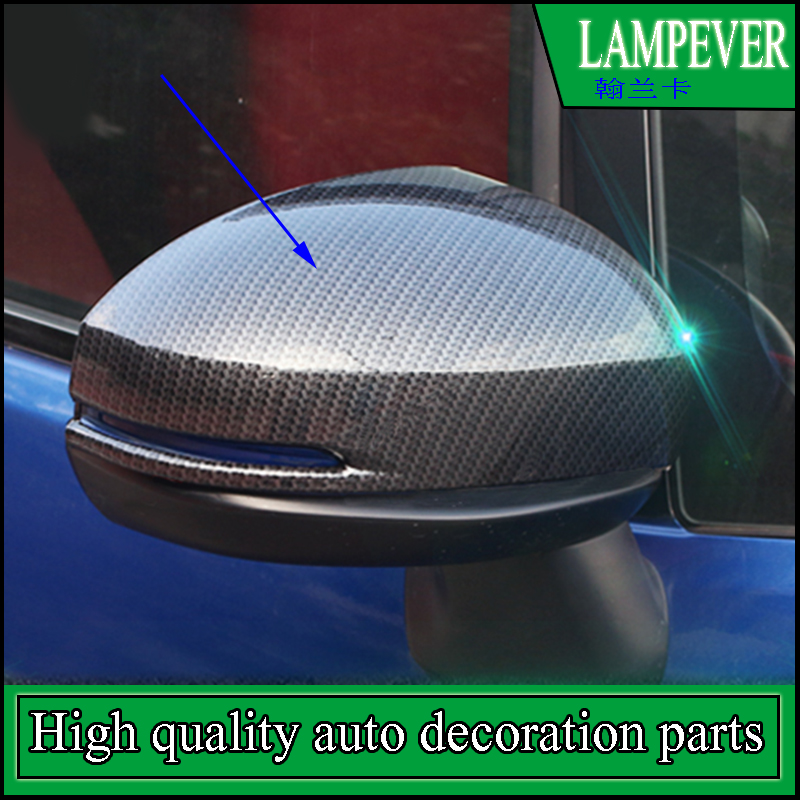FIT FOR HONDA Fit GK5 2014-2016 ABS SIDE DOOR MIRROR COVER REAR VIEW TRIM OVERLAY BEZEL MOLDING CARBON BLACK STYLING GARNISH