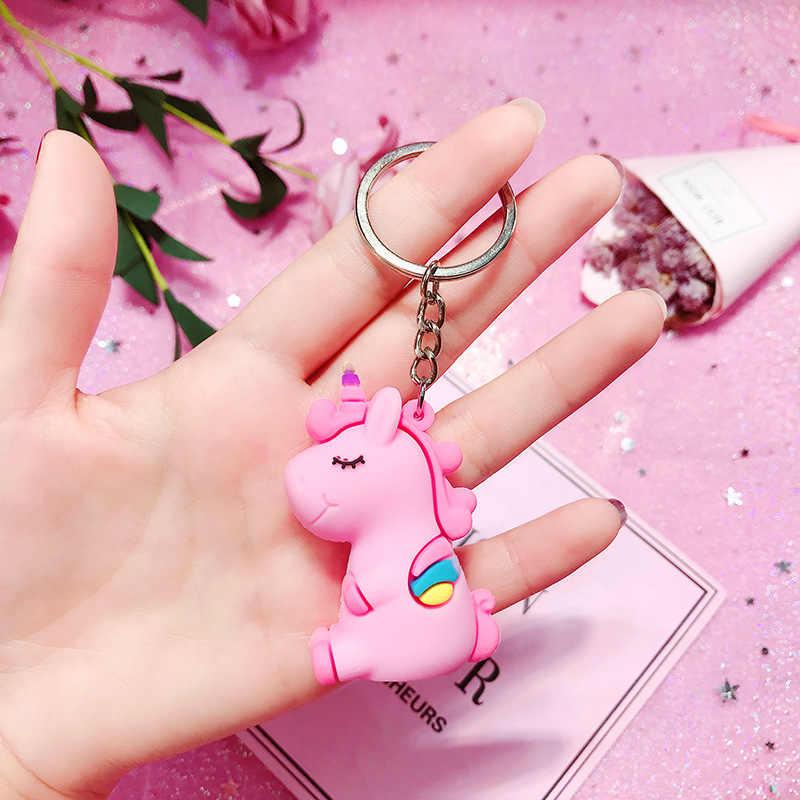แฟชั่นแฟนซีแฟนตาซีขายร้อนน่ารัก Unicorn พวงกุญแจสัตว์ PVC พวงกุญแจผู้หญิงกระเป๋า Charm กุญแจจี้ของขวัญคุณภาพ