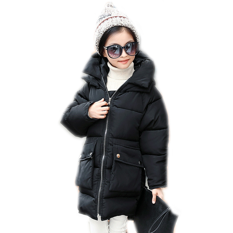 children winter jackets 2018 kids winter coat solid long section girls winter coat warm cotton padded jackets for girls 4-13T teenage girls winter jackets children warming long camouflage coat outwears cotton padded hoode thick camouflage coat y846