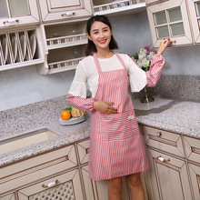 1PC Women Apron with Pockets and Oversleeves Waterproof Stripe Kitchen Anti-oil Aprons Cooking Thick Cloth OK 0917