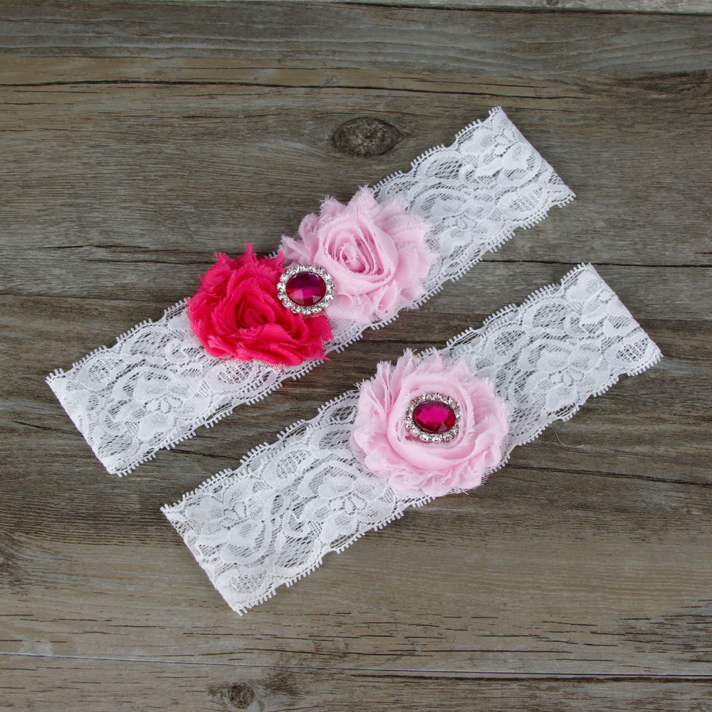 Wedding Garters  Ivory  Hot Pink  Black  Garter Set   Keepsake Garter  Toss Garter  Vintage Inspired Lace Garter  Flower Garter