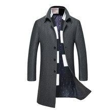 wool coat 2018 New Winter woolen long peacoat men slim fit casual thick overcoat mens warm