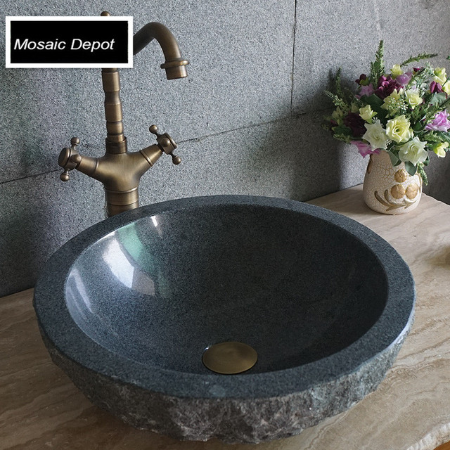Stone sink dark gray stone vanity tops granite basin bathroom tops accent