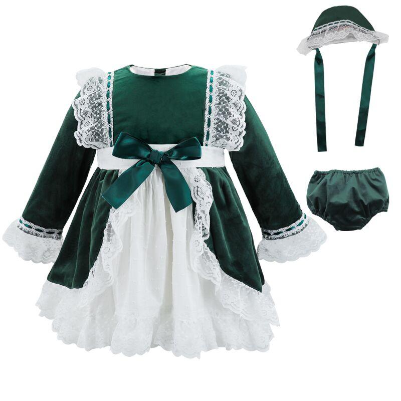 Mode filles de noël robes arc dentelle bébé fille princesse fête Tutu enfants robe de mariée bébé vêtements vert noël espagne Vestidos - 3