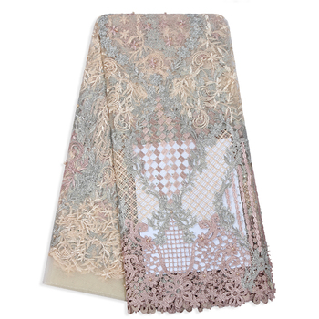 Luxury French Cord Flower Embroidered Tulle Lace Colorful Patchwork Bead African Mesh Fabric High Quality Trim Dress Lace Fabric