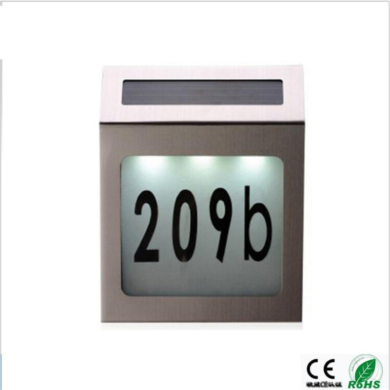 Solar IP44 outdoor led wall lamp ,wire free 0.2W 10-12hours last Light sensor led doorplate light ,tablet /number door,gate lamp