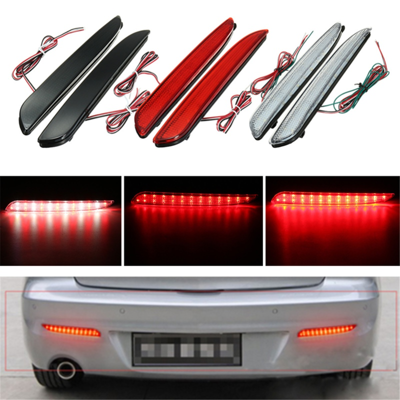 цена на 2Pcs 24 LED Rear Bumper Reflector Tail Brake Stop Running Turning Light For Mazda 3 2010-2013