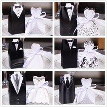 50pc花嫁 + 50pc新郎エレガント結婚式のための甘いのために結婚式の好意ドレスパーティーの装飾
