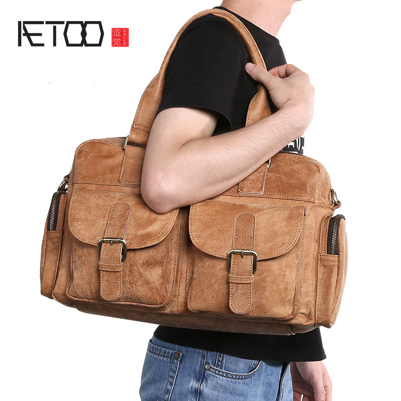 AETOO Retro casual leather men's head layer leather men's handbag fashion trend shoulder Messenger bag