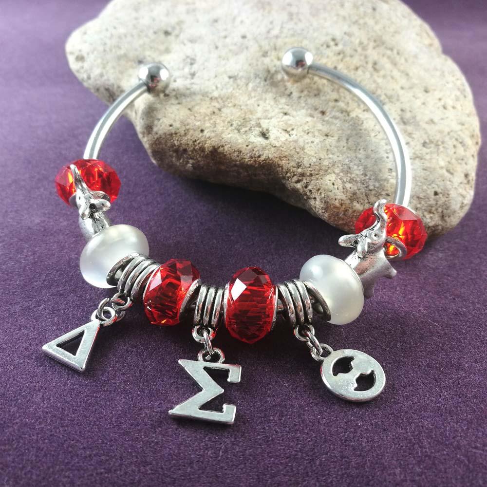 Delta Sigma Theta Earrings: NEW Red Bead Delta Sigma Theta Elephant Charm Bangle