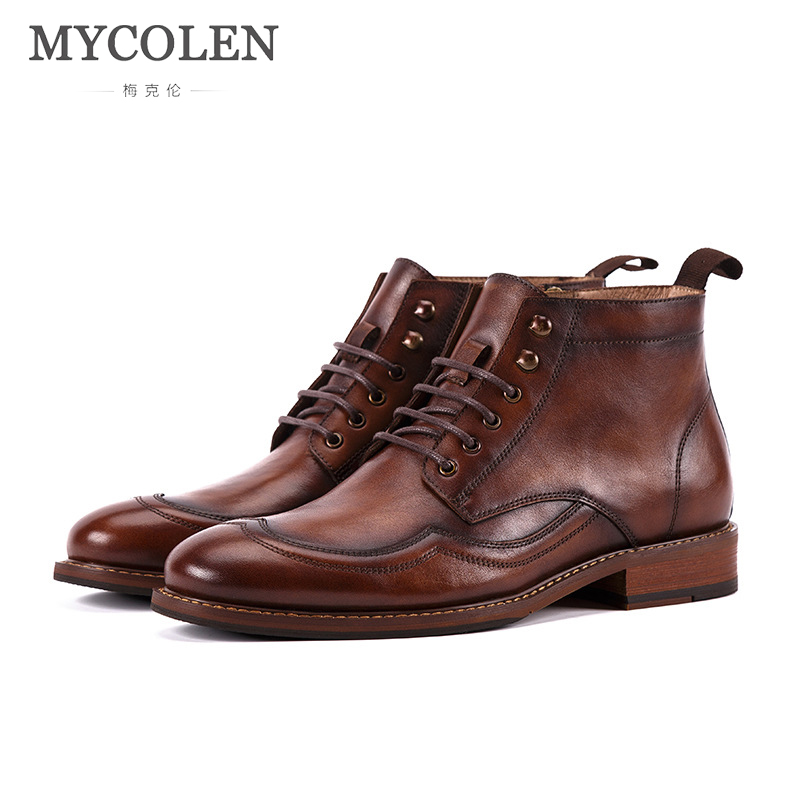 MYCOLEN Winter Autumn Men Boots Luxury Designers Quality Tactical Desert Combat  Handmade Ankle Work Shoes Leather Chuteira
