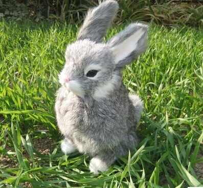 Модель кролика, полиэтилен и меха 22 x см 15 см серый кролик игрушка, опора, украшения дома Рождественский подарок w4214