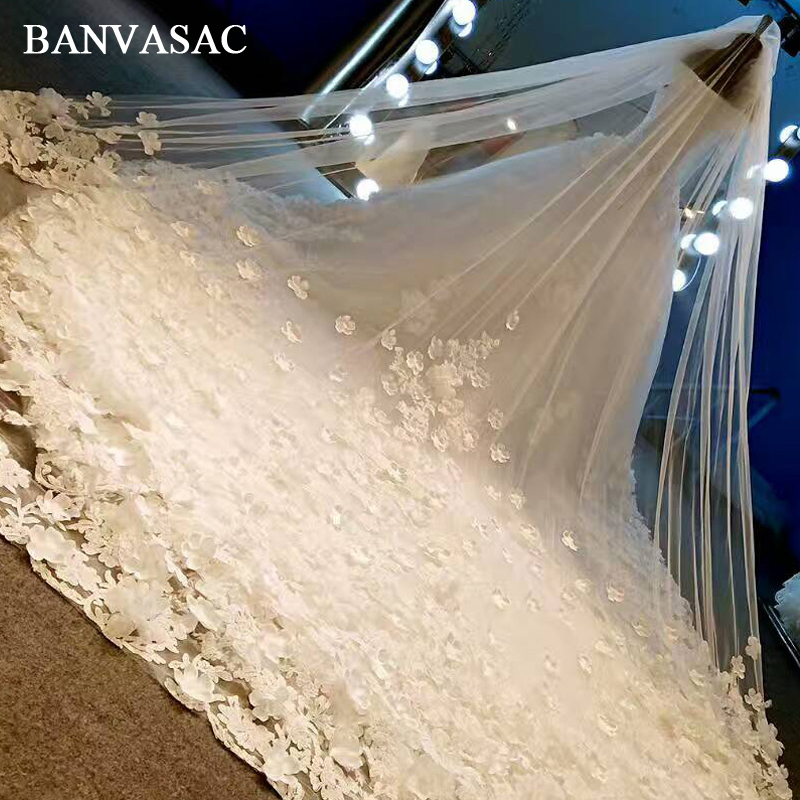 BANVASAC 2018 Sequined Boat Neck Lace Ball Gown Wedding Dresses Cap - Pakaian perkahwinan