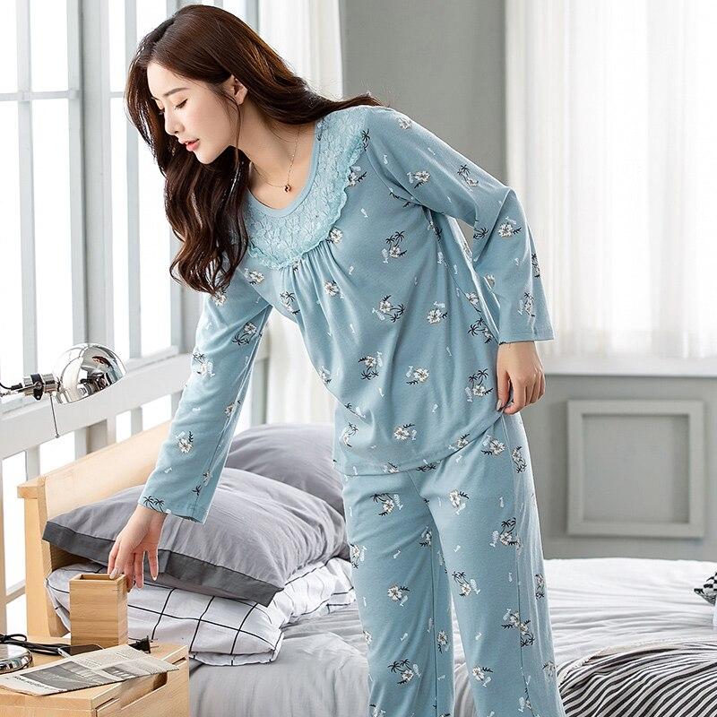 2e64967528 Spring autumn pajamas 100% cotton Floral long-sleeve plus size pijama pyjamas  women