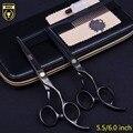 5.5/6.0 Kasho tesoura de cabelo Profissional de cabeleireiro tesoura do barbeiro scissors tesouras de corte de cabelo desbaste de cabeleireiro 2 pcs set