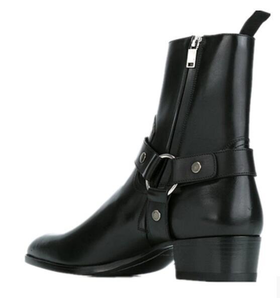 2019 ventas calientes FR. botas de cuero de vaca de cuero genuino de lancelote para hombre con cremallera superior a la moda estilo británico botas Chelsea para hombre-in Botinas from zapatos    3